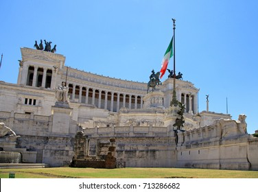 Monument Vittorio Emanuele II or Altar of the Fatherland on Piazza Venezia in Rome, Italy.