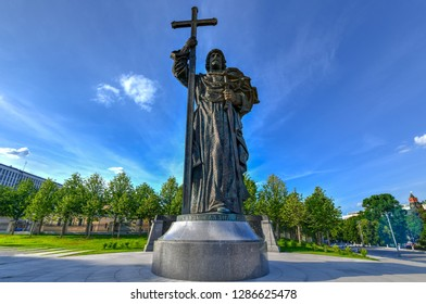 Monument to Vladimir the Great (Prince Vladimir the Baptist of Russia) on Borovitskaya Square near the Moscow Kremlin, Russia.
