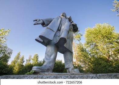 Monument to Vladimir Lenin. Dancing Lenin. Russia, Arkhangelsk, Solombala