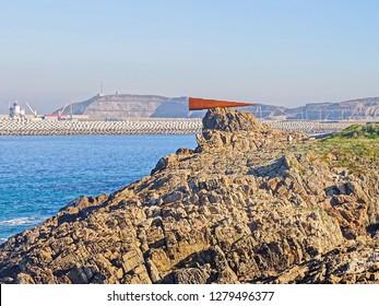 Monument to the voyeur on the coast of the municipality of Arteixo (Coruña) 01/05/2019 Arteixo (Coruña), Galicia, Spain