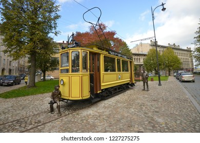 Monument to Vyborg tram. Mini-Cafe, Vyborg, Leningrad region, Russia-4.10.2018