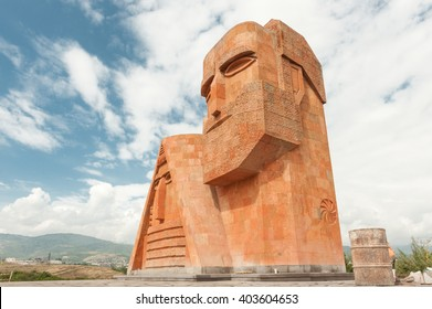 """Monument """"We Are Our Mountains"""" in Stepanakert, capital of Nagorno-Karabakh (Artsakh)."""