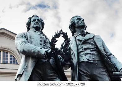 Goethe–Schiller Monument, Weimar, Thuringia, Germany.