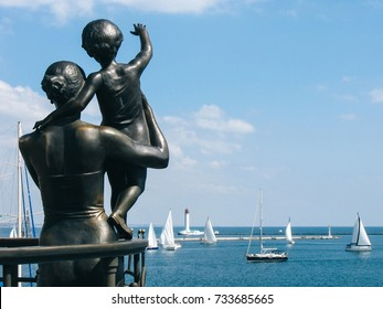 Monument to wife sailor in sea port Odessa, Ukraine