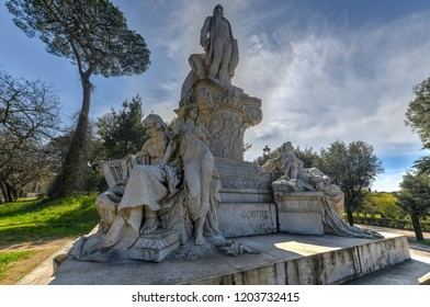 The monument to Wolfgang Goethe in the gardens of Villa Borghese, Rome, Italy.