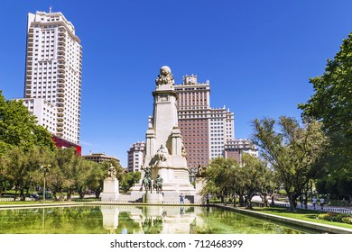 Monument to the writer Miguel de Cervantes in Madrid, Spain