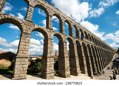 Monumental aqueduct in the city of Segovia, Spain