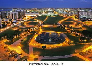 Monumental axis of Brasilia at dusk, Brazil