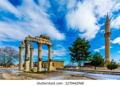 The Monumental City Gate of ( Uzuncaburc ) Ancient City in Mersin Province