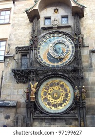 The monumental clock of the town hall in Prague in the Czech republic