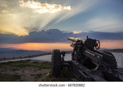 Monumental field artillery gun at Kocatepe, Afyonkarahisar, Turkey where The Great Offensive of the Turkish War of Independence began.