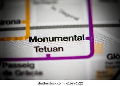 Monumental Station. Barcelona Metro map.