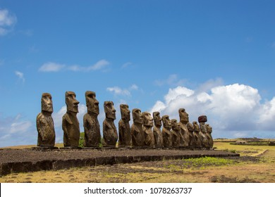 monumental statues at Eather Island in chile