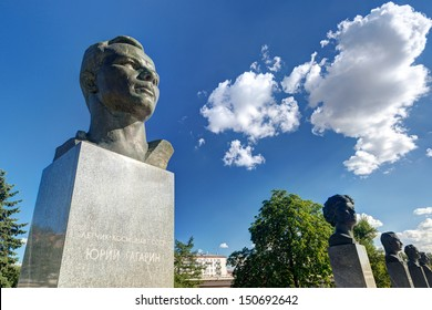 Monuments to Yuri Gagarin and other famous Soviet cosmonauts (astronauts) on the Cosmonauts Alley in Moscow, Russia. Bust of Gagarin near VDNKh park on a sunny summer day.