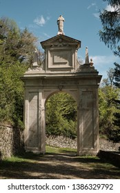 monumets and one of the XIVchapel along the path of the historic pilgrimage route from Sacred Mount or Sacro Monte of Varese, Italy - Lombardy