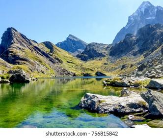 Monviso reflected in Lake Fiorenza, Piedmont, Italy