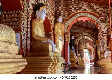 MONYWA - DEC 3 Interior of Thanboddhay pagoda on December 3, 2016 Monywa, Myanmar. Thanboddhay Pagoda is a massive Buddhist complex housing over 580,000 images of the Buddha