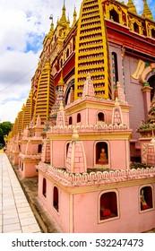 MONYWA, MYANMAR - AUG 27, 2016: Thambuddhe Pagoda Complex (Sambuddhe), one of the famous pagodas in Monywa of Sagaing Region.