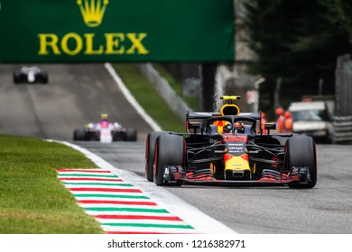 Monza, Italy - 08/31/2018  Max Verstappen (NDL) in his Red Bull Racing RB14 approaching the Ascari chicane during the second Friday practice ahead of the 2018 Italian Grand Prix at Monza.