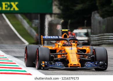 Monza, Italy - 08/31/2018  Stoffel Vandoorne (BEL) in his papaya orange McLaren MCL33 approaching the Ascari chicane during the second Friday practice ahead of the 2018 Italian Grand Prix at Monza.