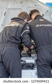 MONZA, ITALY - 18 NOVEMBER 2018: technicians making checkup of a car during Vedovati corse