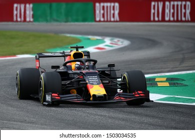 Monza, Italy. 6th September 2019. Formula 1 Gran Prix of Italy.   Max Verstappen of Aston Martin Red Bull Racing during practice for the F1 Grand Prix of Italy