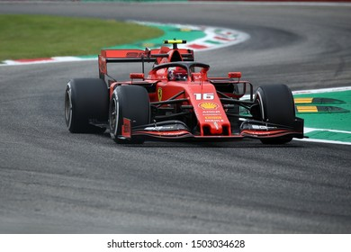 Monza, Italy. 6th September 2019. Formula 1 Gran Prix of Italy.   Charles Leclerc of Scuderia Ferrari during practice for the F1 Grand Prix of Italy