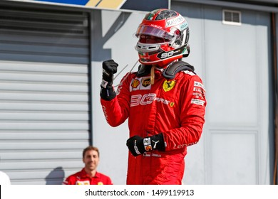 Monza, Italy. 8th September 2019. Formula 1 Grand Prix of  Italy. Charles Leclerc of Scuderia Ferrari celebrates in parc ferme after the F1 Grand Prix of Italy