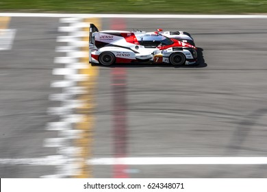 Monza, Italy - April 01, 2017: Toyota TS050  Hybrid of Toyota Gazoo Racing Team, driven by M. Conway and K. Kobayashi and Y. Kunimoto during the FIA World Endurance Championship Official Test.