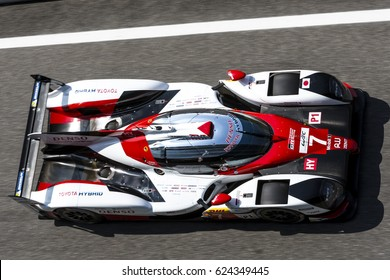Monza, Italy - April 01, 2017: Toyota TS050 Hybrid of Toyota Gazoo Racing Team, driven by M. Conway and K. Kobayashi and Y. Kunimoto during the FIA World Endurance Championship  in Monza Circuit.
