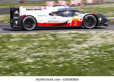 Monza, Italy - April 01, 2017: Porsche 919 Hybrid of Porsche LMP Team, driven by T. Bernhard - E. Bamber - B. Hartley during the FIA World Endurance Championship in Autodromo Nazionale di Monza.