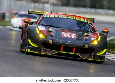 Monza, Italy - April 01, 2017: Ferrari 488 GTE of Clearwater Racing Team, driven by W. Mok and K. Sawa and M. Griffin during the FIA World Endurance Championship Official Test in Autodromo di Monza..