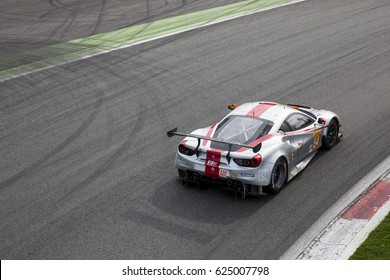Monza, Italy - April 01, 2017: Ferrari 488 GTE of Spirit of Race Team, driven by T. Flohr and F. Castellacci and M. Molina during the FIA World Endurance Championship in Autodromo di Monza Circuit.