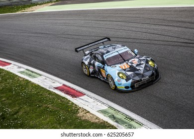 Monza, Italy - April 01, 2017: Porsche 911 RSR of Dempsey-Proton Racing Team, driven by C. Ried and M. Cairoli and M. Dienst during the FIA World Endurance Championship in Autodromo di Monza Circuit.
