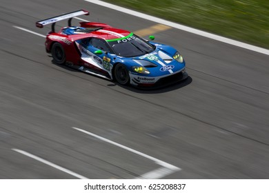 Monza, Italy - April 01, 2017: Ford GT of Ford Chip Ganassi Team, driven by S. Mucke and O. Pla during the FIA World Endurance Championship Official Test in Autodromo Nazionale di Monza Circuit.