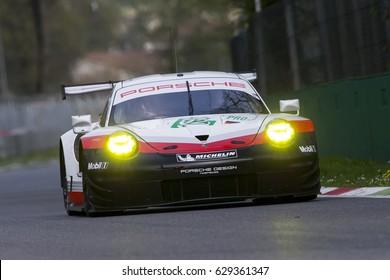 Monza, Italy - April 01, 2017: Porsche 911 RSR of Porsche GT Team, driven by M. Christensen and K. Estre during the FIA World Endurance Championship in Autodromo Nazionale di Monza Circuit.