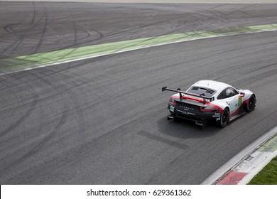 Monza, Italy - April 01, 2017: Porsche 911 RSR of Porsche GT Team, driven by R. Lietz and F. Makowiecki during the FIA World Endurance Championship in Autodromo Nazionale di Monza Circuit.