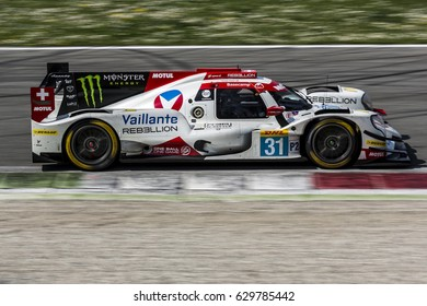 Monza, Italy - April 01, 2017: Oreca 07 - Gibson of Bykolles Racing Vaillante Rebellion Team, driven by J. Canal and B. Senna during the FIA World Endurance Championship