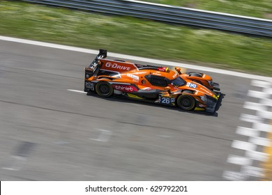 Monza, Italy - April 01, 2017: Oreca 07 - Gibson of G-Drive Racing Team, driven by R. Rusinov and P. Thiriet and J. Martin during the FIA World Endurance Championship in Autodromo Nazionale di Monza.