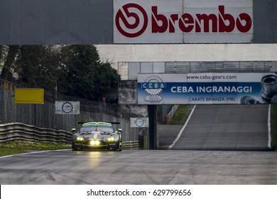 Monza, Italy - April 01, 2017: Aston Martin V8 Vantage of Aston Martin Racing Team, driven by P. Dalla Lana / P. Lamy / M. Lauda during the FIA World Endurance Championship in Autodromo di Monza .