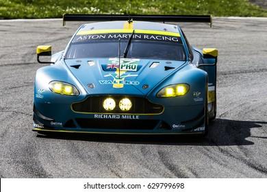 Monza, Italy - April 01, 2017: Aston Martin VANTAGE of Aston Martin Racing Team, driven by D. Turner and J. Adam during the FIA World Endurance Championship in Autodromo Nazionale di Monza Circuit.