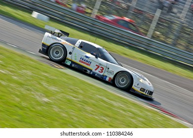MONZA, ITALY - APRIL 27: Chevrolet Corvette C6.R GT1 driven by Sebastien Dumez, Jean-Luc Blanchemain and Roland Berville racing in the 1000km of Monza. April 27, 2008 in Monza, Italy
