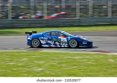 MONZA, ITALY - APRIL 27: Ferrari F430 GT2 driven by Stephane Daoudi and Ben Aucott racing in the 1000km of Monza. April 27, 2008 in Monza, Italy
