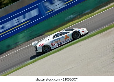 MONZA, ITALY - APRIL 27: Lamborghini Murcie lago R-GT driven by Peter Kox and Roman Rusinov racing in the 1000km of Monza. April 27, 2008 in Monza, Italy