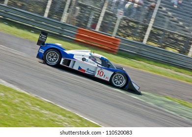 MONZA, ITALY - APRIL 27: Lola B08/60 LMP1 driven by Jan Charouz and Stefan Mucke racing in the 1000km of Monza. April 27, 2008 in Monza, Italy