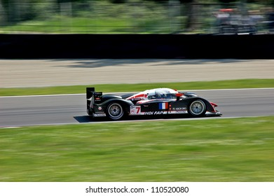 MONZA, ITALY - APRIL 27: Peugeot 908 HDi FAP LMP1 driven by  Nicolas Minassian and Marc Gene racing in the 1000km of Monza. April 27, 2008 in Monza, Italy