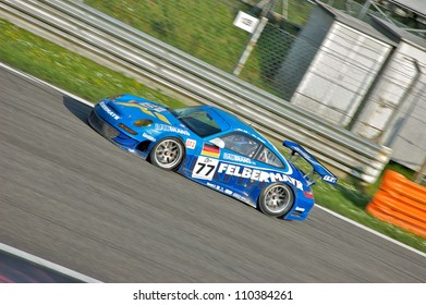 MONZA, ITALY - APRIL 27: Porsche 997 GT3-RSR GT2 driven by Marc Lieb and Alex Davison racing in the 1000km of Monza. April 27, 2008 in Monza, Italy