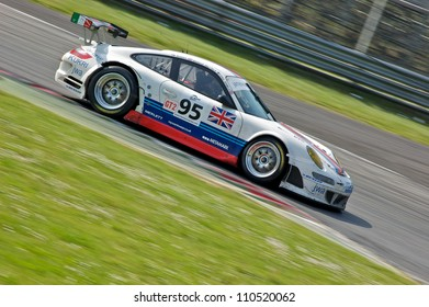 MONZA, ITALY - APRIL 27: Porsche 997 GT3-RSR driven by Markus Palttala, Tim Sugden and Paul Daniels racing in the 1000km of Monza. April 27, 2008 in Monza, Italy