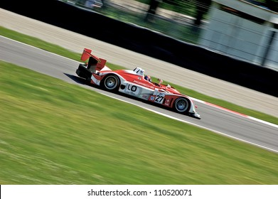 MONZA, ITALY - APRIL 27: Porsche RS Spyder LMP2 driven by Fredy Lienhard, Didier Theys and Jan Lammers racing in the 1000km of Monza. April 27, 2008 in Monza, Italy