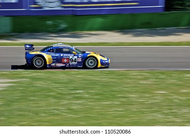 MONZA, ITALY - APRIL 27: Spyker C8 Laviolette GT2-R driven by Andrea Chiesa and Benjamin Leuenberger racing in the 1000km of Monza. April 27, 2008 in Monza, Italy